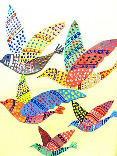 Gond-style Indian Tribal Art - I wonder if you could paint different color blocks on bubble wrap and cut shapes out and create collage figures from the painted shapes (kind of like Eric Carle's paintings, but with texture)