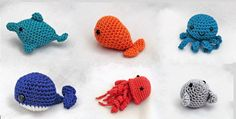 Mini amigurumi water babies PDF crochet pattern dolphin, fish, jellyfish, octopuss, seal and whale by AmigurumiBarmy on Etsy https://www.etsy.com/listing/150324827/mini-amigurumi-water-babies-pdf-crochet