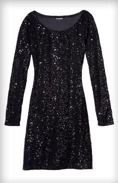 Long Sleeve Sequin Embellished Dress from Express: REALLY WANT! :)