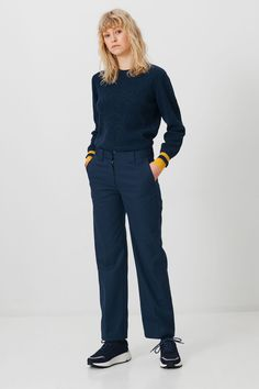 Veneda trousers in Navy is a mid raise trouser with slightly wide legs. It features wide belt straps to add detail. Cotton Pyjamas, Pajamas, Japanese Cotton, Trousers, Pants, Wide Leg, Legs, Sweaters, Wood Wood