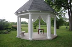 Simple yet beautiful gazebo ceremony set up for charming August 2017 wedding