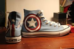 @Kelsey Averett They exist!! :) Captain America themed handpainted Converse