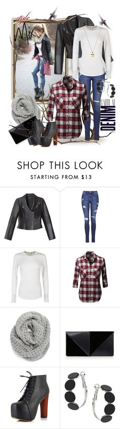 """Style Mix: Radical Denim"" by wanda-india-acosta ❤ liked on Polyvore featuring Alima, Bebe, Topshop, James Perse, Halogen and UN United Nude"