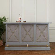 Comptons Gray Wood Velvet Brass Bar