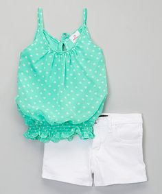 Look what I found on #zulily! Mint Heart Chiffon Tank & Denim Shorts - Toddler & Girls #zulilyfinds