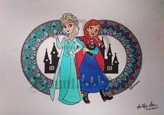 Anna👸& Elsa👸 Mandala Design, Mandala Art, Elsa Anna, Disney Princesses, Princess Zelda, Fictional Characters, Fantasy Characters, Disney Princess, Disney Princes