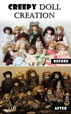 DIY Creepy Doll Creation - Ashlee Arehart - DIY Creepy Doll Creation When preparing for any party, I love stopping by the thrift store to see if there are any great props I can pick up that would add to the decor without breaking - Creepy Doll Halloween, Creepy Baby Dolls, Scary Halloween Decorations, Halloween Projects, Halloween Party Decor, Holidays Halloween, Diy Zombie Dolls, Zombie Crafts, Haunted House Decorations