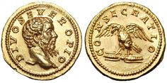 Divus Septimius Severus. Aureus, 6.96 g, 21 mm, 12 h, Rome, 211. DIVO SEVERO PIO. Bare-headed bust of Severus right. / CONSECRATIO. Eagle standing left with wings outstretched, clasping thunderbolt in talons. BMC 19; Calicó 2440; RIC 191a. Very rare. Llightly brushed in left reverse field, insignificant mark. FDC. $129.256.