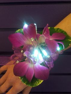 """""""Spotlight"""" Orchid wrist corsage with LED lights $55.00 #PW-04"""