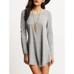 Grey Scoop Neck T-shirt Dress (35 BRL) ❤ liked on Polyvore featuring dresses, t shirt dress, tee shirt dress, scoop neckline dress, gray dress and scoop neck t shirt dress