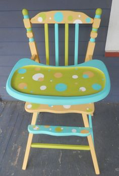 Polka Dot High Chair Hand Painted by Debbie Is by DebbieIsAdopted, $270.00