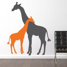 Giraffe Hug Wall Decal - Two Giraffes Nursery Children's Bedroom Sticker Wall Decor - Safari Jungle Animal Vinyl Decal -CA121B. $65.00, via Etsy.