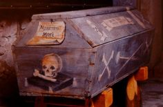 One of the amazing decorated coffins found in the Dominican church in Vac, Hungary. This coffin, belonging to a miner, is painted with bones, skulls and a miner's pick and shovel. Each coffin had been personalized with great thought and care.