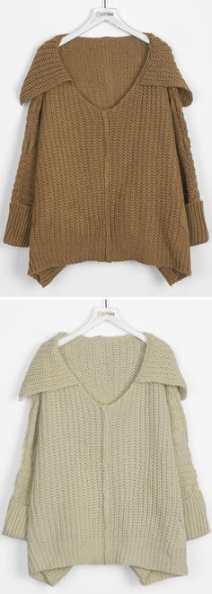Mesmerize everyone in this Stuck On You Lapel Casual Sweater with big lapel and delicate craft. It's incredible how unforgettable you will be in the this sweater.