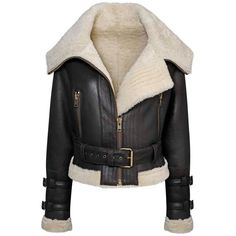 Melanoid Shearling Aviator Bomber Jacket ($10) ❤ liked on Polyvore featuring outerwear, jackets, bomber style jacket, blouson jacket, shearling bomber jacket, shearling flight jacket and shearling jacket