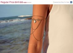 CLEARANCE SALE Armlet Slave Bracelet Arm Bracelet Piece Hipster Bronze Chain Moroccan Swirl Charm Turquoise Bead Bohemian Drape Body Jewelry on Etsy, $14.45