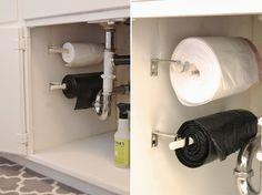 Organize cada cômodo #1: ideias para organizar a cozinha! Sacos de lixo em um rolo para facilitar a rotina!