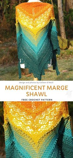 Magnificent Marge Shawl Free Crochet Pattern - Source by sibylleluithle - Crochet Shawls And Wraps, Crochet Poncho, Crochet Scarves, Crochet Clothes, Crochet Stitches, Crochet Baby, Crochet Patterns, Poncho Patterns, Crochet Vests