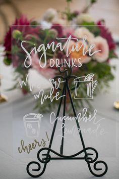 Acrylic Wedding Sign with Calligraphy via Jubilee Events