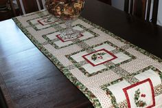 Christmas table runner quilted reversible full by liveoakhome