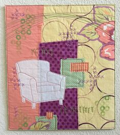 Wider Possibilities by Deborah Boschert, art quilt collage, chair, embroidery, circles, quilting