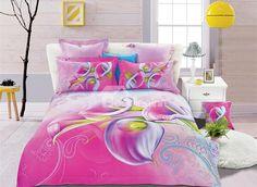 Fresh Pink Calla Lily Print 4-Piece Cotton Duvet Cover Sets