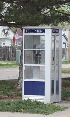 Something you don't see too often anymore- an old style telephone booth.