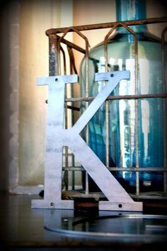 "Industrial Metal Letter ""K"""