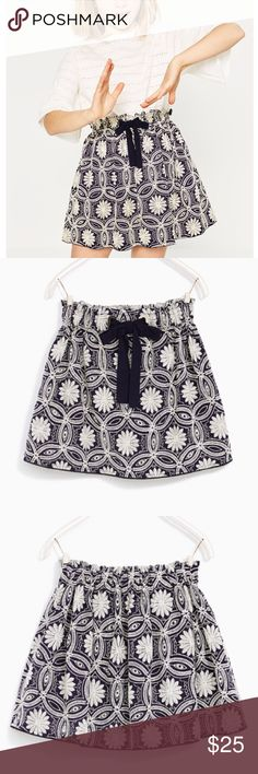 Zara navy embroidered skirt Navy skirt with grey floral embroidery.  Drawstring belt and silver hardware.  NWT.  Size 4 Zara Bottoms Skirts
