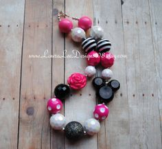 Minnie Mouse Inspired Pink White and Black Bubblegum Necklace Micky Mouse Inspired Photo Prop Toddler Necklace Micky Mouse READY TO SHIP on Etsy, $17.99