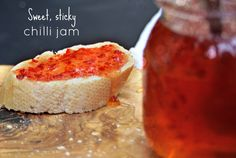 Chilli jam, sweet and sticky. If you've never made jam before this is a great place to start. Step by step. Chilli Recipes, Jelly Recipes, Chutney Recipes, Jam Recipes, Canning Recipes, Savoury Recipes, Yummy Recipes, Recipies, Chilli Jam