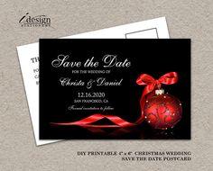DIY Printable Christmas Wedding Save The Date By iDesignStationery On Etsy - $5.95. #ChristmasWedding #SaveTheDate #Etsy