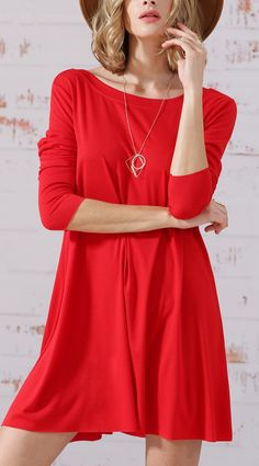 A nice red long sleeve casual dress by SheIn