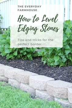 Edging stones give a nice finished look.  This post shows how to achieve that! Flower Garden Borders, Flower Beds, Curb Appeal, Garden Landscaping, Stones, Yard, Gardening, Landscape, Nice