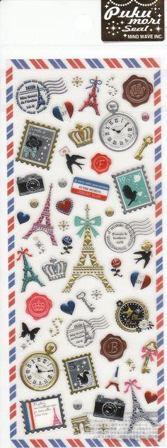 Eiffel Tower Bienvenue Glittered Stickers by SweetSuppliesStore