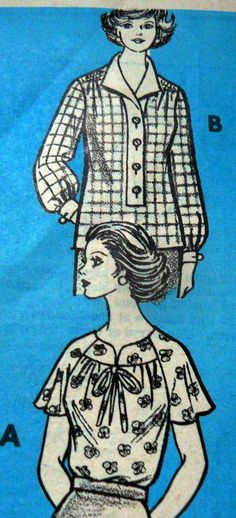 Lovely Vtg 1960s Blouse Mail Order Sewing Pattern 10 32 5, 9254