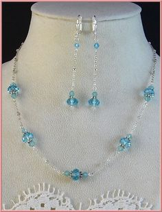 New w/Swarovski Aquamarine/Pacific Opal Crystal Choker Necklace and Earring Set #HisJewelsCreationsDesign #StrandString