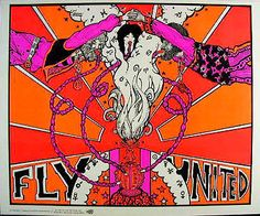 Fly United **RARE** VTG Blacklight Head Shop Poster Hookah 60s Psychedelic drugs