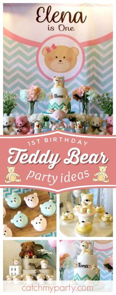 Check out this adorable Teddy Bear 1st birthday party! The teddy macarons are so cute!! See more party ideas and share yours at CatchMyParty.com #teddy #1stbirthday