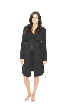 Super-soft robe with attached belt adjusts easily from baby bump to new mom. Whether you are home or walking the hospital, cover yourself in style. Shop now! milkandbaby.com