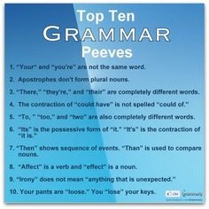 Top 10 Grammar Peeves