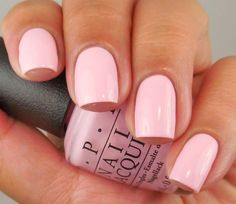 """Beautiful baby pink by OPI in the shade """"What's The Double Scoop?"""" This nail shape is absolutely stunning."""