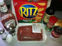 Mama's Easy & Delish Meatloaf! In a large bowl mix 1 (or 1 1/2) lb ground beef, 1 egg, 1/2 small onion diced, 1 & 1/4 sleeves of Ritz crackers, 1/4 cup ketchup, 1/2 can Cream of Mushroom, 1 tbsp Worcestershire Sauce and garlic powder, salt & pepper to taste. Spray a casserole dish, mini loaves pan (my fave) or bread pan with Pam & bake at 350 uncovered for 45 mins. Enjoy!