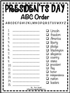 Free Presidents' Day Printables-Love this abc order one