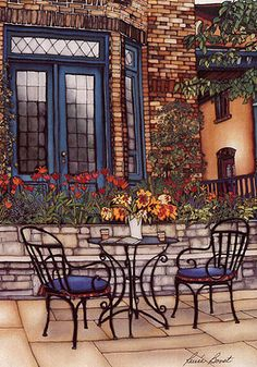 Renée Bovet :: peinture sur soie Peaceful Places, Silk Painting, Patio, Copic Markers, Outdoor Decor, Artist, Artwork, Landscapes, Heaven