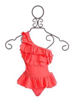 To The 9's Tween One Shoulder Swimsuit Neon Orange $55.00