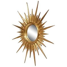 Mid-Century French Gold Leaf Sunburst Mirror With Convex Glass ($1,300) ❤ liked on Polyvore featuring home, home decor, mirrors, sunburst mirrors, sun shaped mirror, convex sunburst mirror, glass home decor, convex mirror and glass mirror