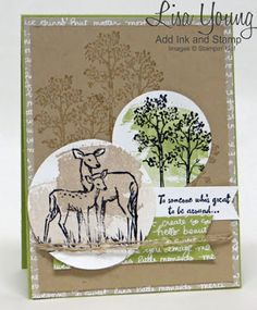 Stamps: In the Meadow, Work of Art Paper: Pear Pizzazz, Crumb Cake Card Stock: Whisper White, Pear Pizzazz, Crumb Cake Other: Linen Thread, dimensionals, circle punches