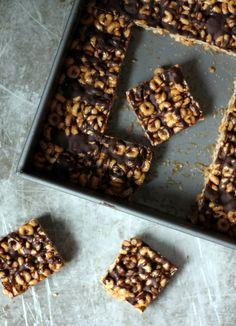 No-Bake Dark Chocolate Almond Butter Cheerio Bars   Ambitious Kitchen