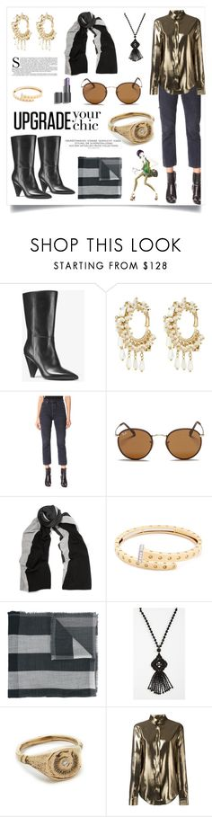 """Metallic Meteorite Shirt..**"" by yagna on Polyvore featuring MICHAEL Michael Kors, Rosantica, AGOLDE, Ray-Ban, Magaschoni, Roberto Coin, Burberry, Kate Spade, Jacqueline Rose and Yves Saint Laurent"